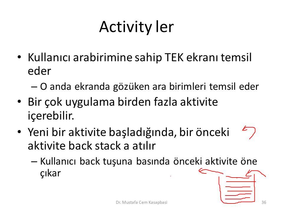 Activity ler Kullanıcı arabirimine sahip TEK ekranı temsil eder – O anda ekranda gözüken ara birimleri temsil eder Bir çok uygulama birden fazla aktiv