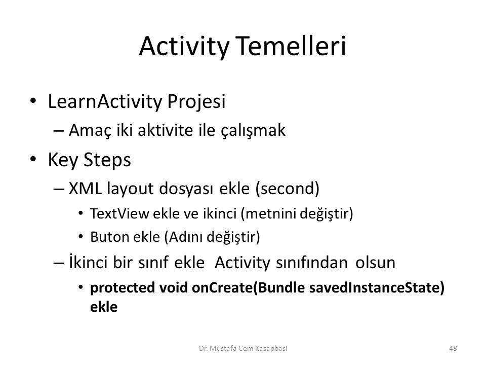 Activity Temelleri LearnActivity Projesi – Amaç iki aktivite ile çalışmak Key Steps – XML layout dosyası ekle (second) TextView ekle ve ikinci (metnin