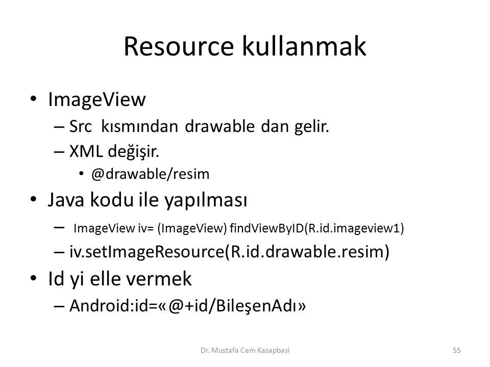 Resource kullanmak ImageView – Src kısmından drawable dan gelir. – XML değişir. @drawable/resim Java kodu ile yapılması – ImageView iv= (ImageView) fi