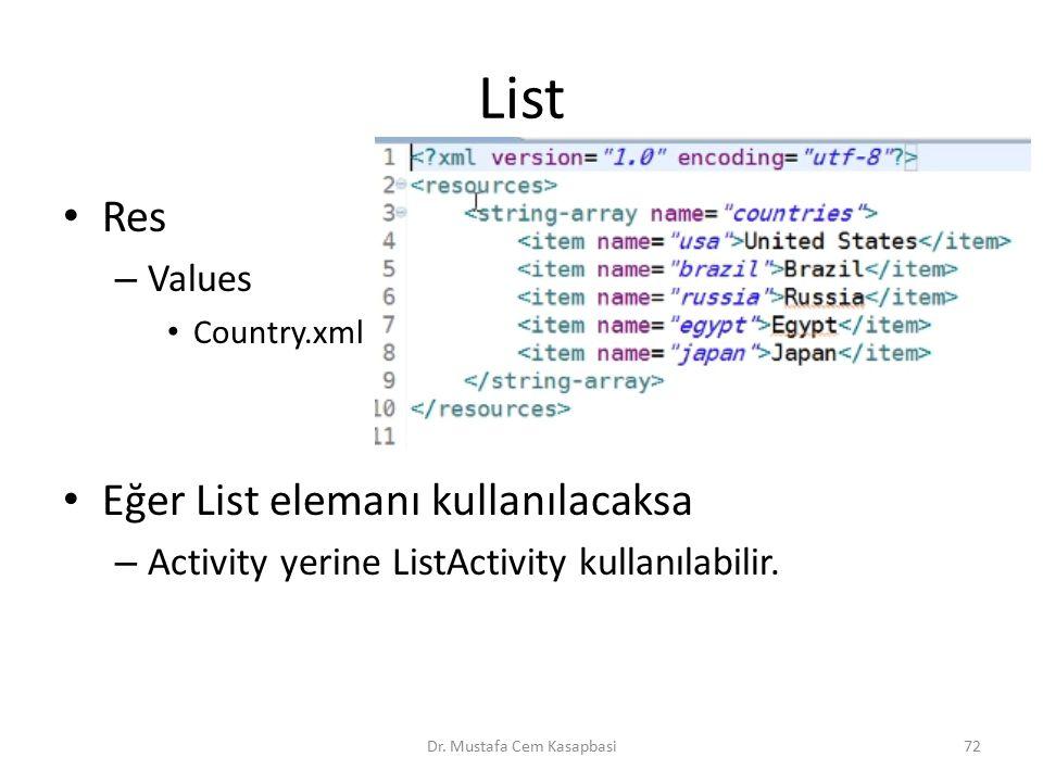List Res – Values Country.xml Eğer List elemanı kullanılacaksa – Activity yerine ListActivity kullanılabilir. Dr. Mustafa Cem Kasapbasi72