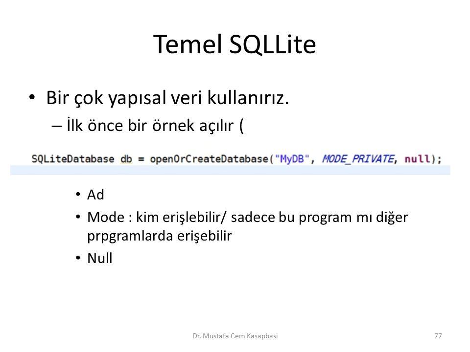 Temel SQLLite Bir çok yapısal veri kullanırız. – İlk önce bir örnek açılır ( Ad Mode : kim erişlebilir/ sadece bu program mı diğer prpgramlarda erişeb