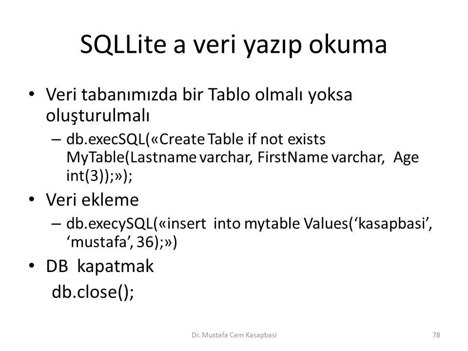 SQLLite a veri yazıp okuma Veri tabanımızda bir Tablo olmalı yoksa oluşturulmalı – db.execSQL(«Create Table if not exists MyTable(Lastname varchar, Fi
