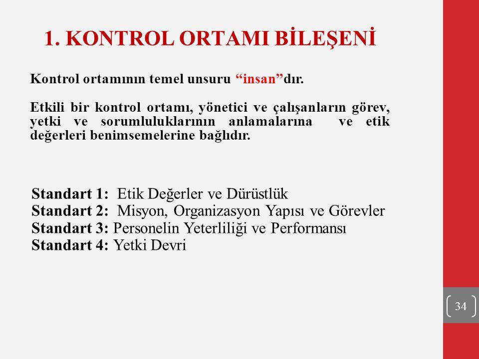 1. KONTROL ORTAMI BİLEŞENİ Standart 1: Etik Değerler ve Dürüstlük Standart 2: Misyon, Organizasyon Yapısı ve Görevler Standart 3: Personelin Yeterlili