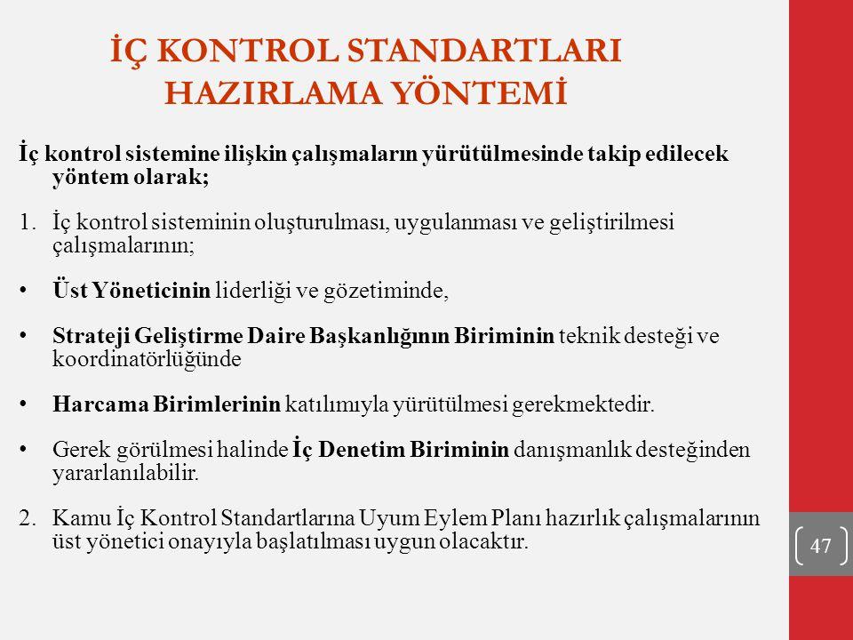 İÇ KONTROL STANDARTLARI HAZIRLAMA YÖNTEMİ 47 İç kontrol sistemine ilişkin çalışmaların yürütülmesinde takip edilecek yöntem olarak; 1.İç kontrol siste