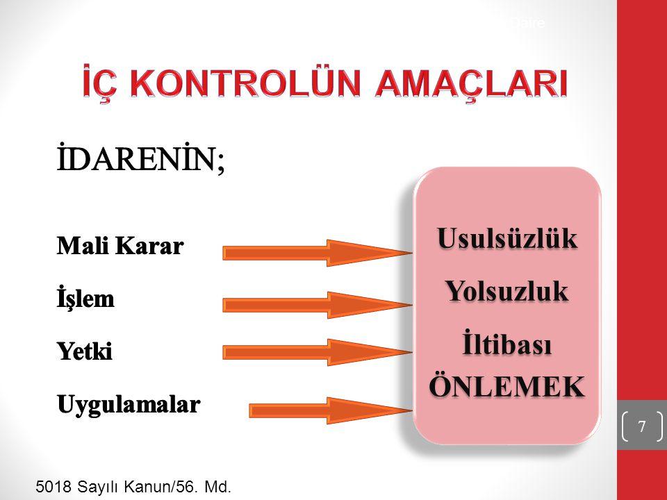 Strateji Geliştirme Daire Başkanlığı 5018 Sayılı Kanun/56. Md. 8
