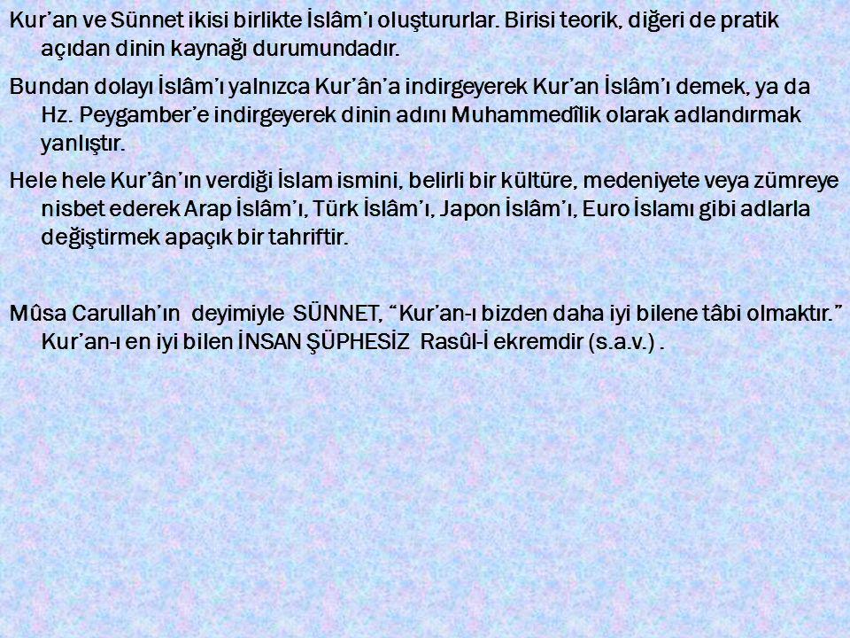 Kur'an ve Sünnet ikisi birlikte İslâm'ı oluştururlar. Birisi teorik, diğeri de pratik açıdan dinin kaynağı durumundadır. Bundan dolayı İslâm'ı yalnızc