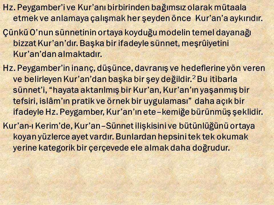 Hz. Peygamber'i ve Kur'anı birbirinden bağımsız olarak mütaala etmek ve anlamaya çalışmak her şeyden önce Kur'an'a aykırıdır. Çünkü O'nun sünnetinin o