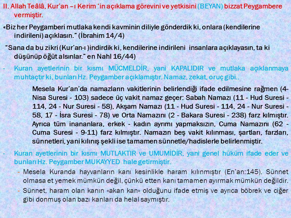 III.Kur'an, Hz. Peygamber'in helal ve haram koyma yetkisine sahip olduğunu açıkça ifade ediyor.