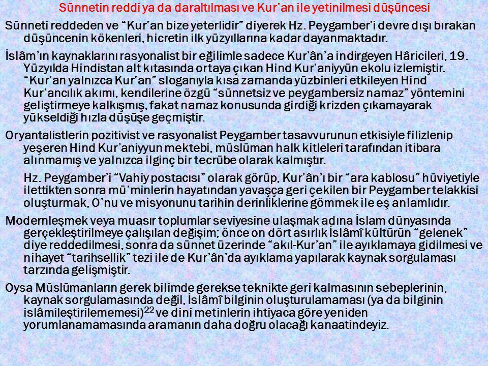 """Sünnetin reddi ya da daraltılması ve Kur'an ile yetinilmesi düşüncesi Sünneti reddeden ve """"Kur'an bize yeterlidir"""" diyerek Hz. Peygamber'i devre dışı"""