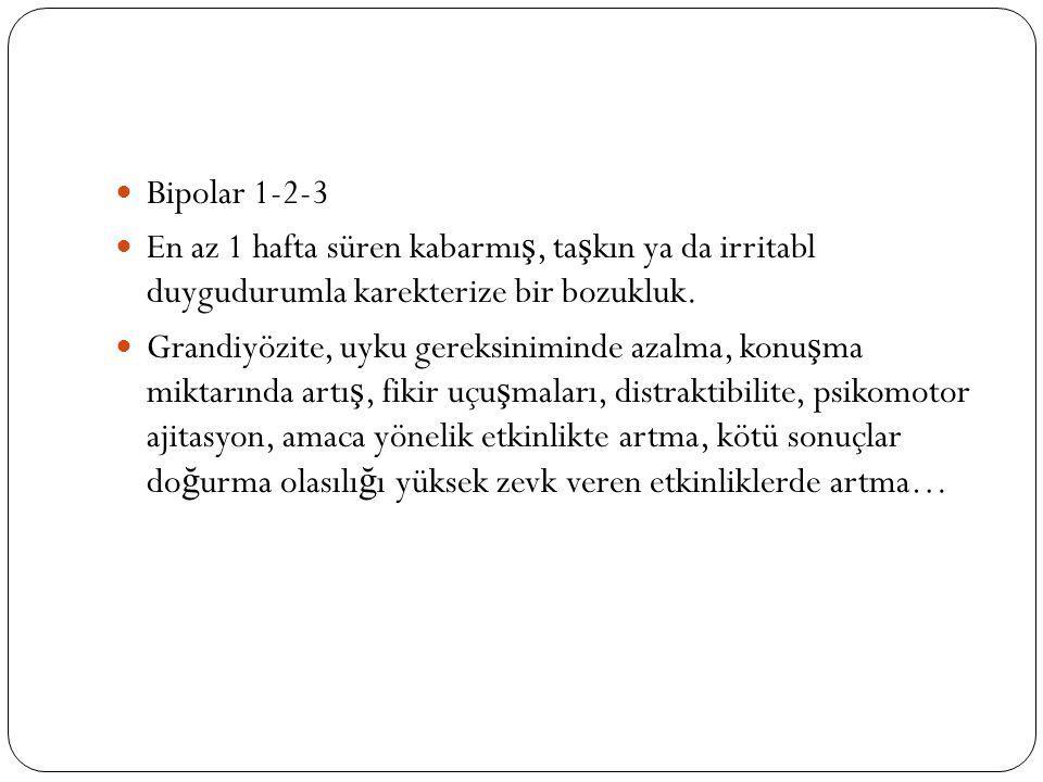 Siklotimik bozukluk da bipolar spektrum bozukluklarındandır.