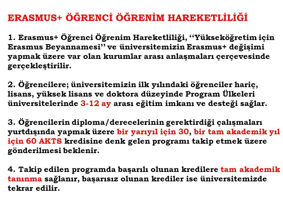 ERASMUS+ ÖĞRENCİ ÖĞRENİM HAREKETLİLİĞİ 1. Erasmus+ Öğrenci Öğrenim Hareketliliği, ''Yükseköğretim için Erasmus Beyannamesi'' ve üniversitemizin Erasmu