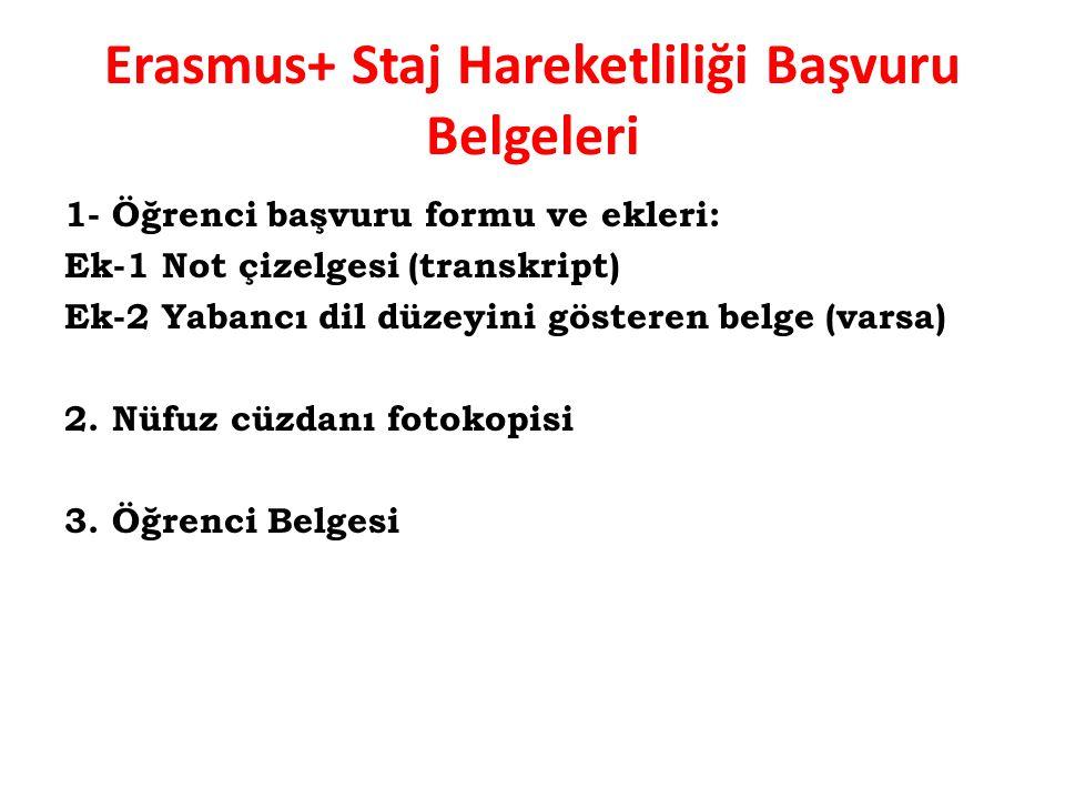 Erasmus+ Staj Hareketliliği Başvuru Belgeleri 1- Öğrenci başvuru formu ve ekleri: Ek-1 Not çizelgesi (transkript) Ek-2 Yabancı dil düzeyini gösteren b