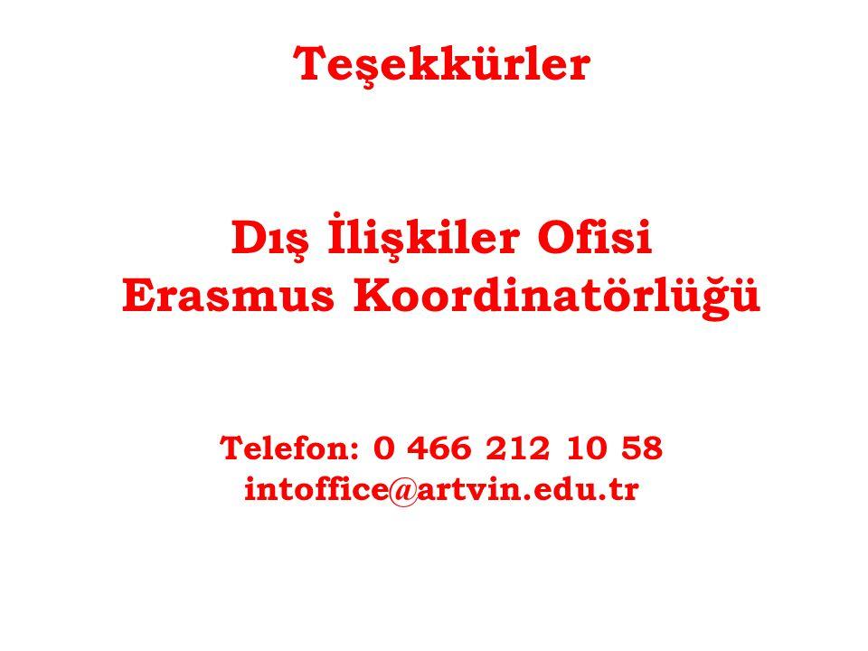 Teşekkürler Dış İlişkiler Ofisi Erasmus Koordinatörlüğü Telefon: 0 466 212 10 58 intoffice@artvin.edu.tr