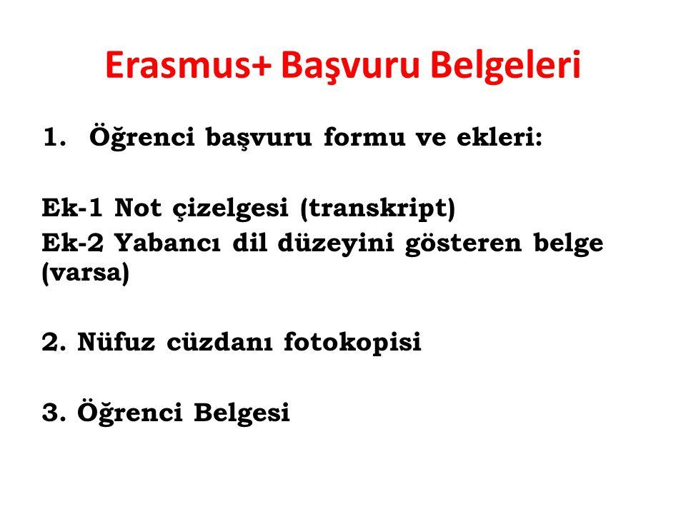 Erasmus+ Başvuru Belgeleri 1. Öğrenci başvuru formu ve ekleri: Ek-1 Not çizelgesi (transkript) Ek-2 Yabancı dil düzeyini gösteren belge (varsa) 2. Nüf