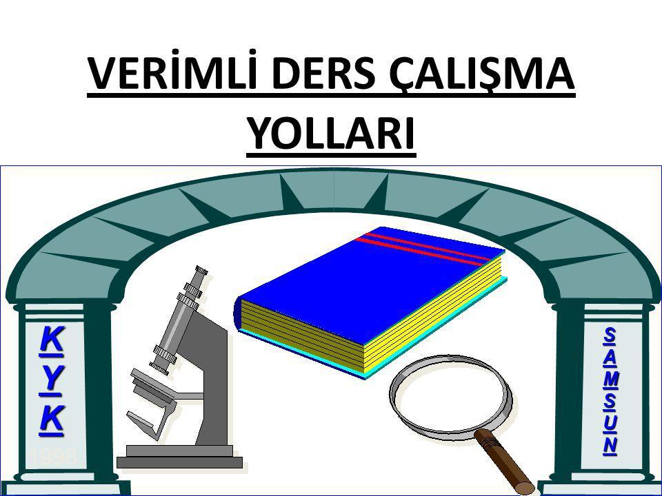 VERİMLİ DERS ÇALIŞMA YOLLARI KYK SAMSUN 1998