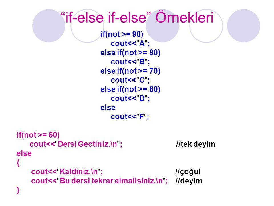 """""""if-else if-else"""" Örnekleri if(not >= 90) cout<<"""