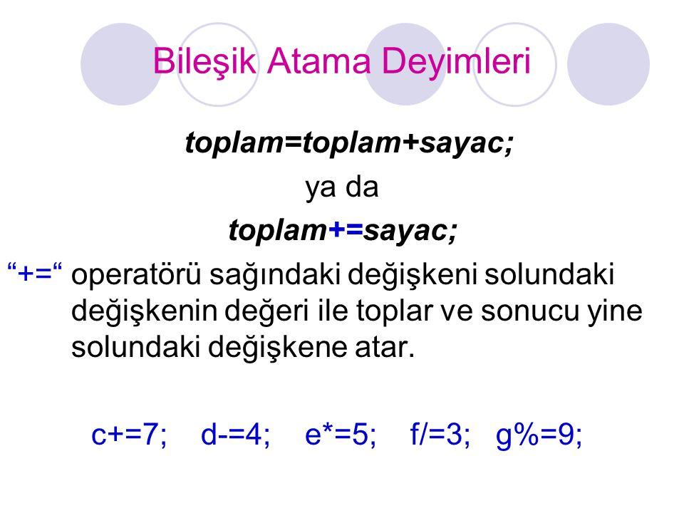 """Bileşik Atama Deyimleri toplam=toplam+sayac; ya da toplam+=sayac; """"+="""" operatörü sağındaki değişkeni solundaki değişkenin değeri ile toplar ve sonucu"""