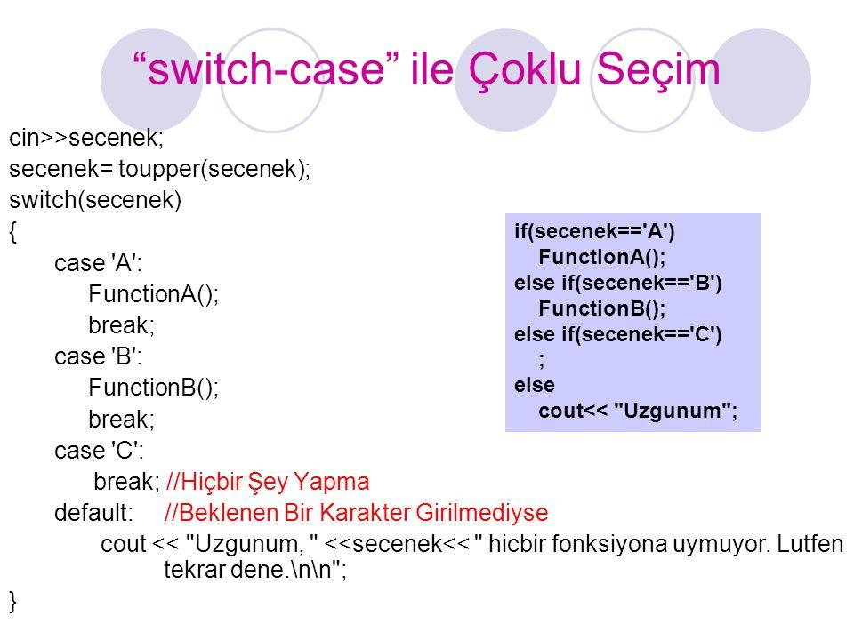 """""""switch-case"""" ile Çoklu Seçim cin>>secenek; secenek= toupper(secenek); switch(secenek) { case 'A': FunctionA(); break; case 'B': FunctionB(); break; c"""