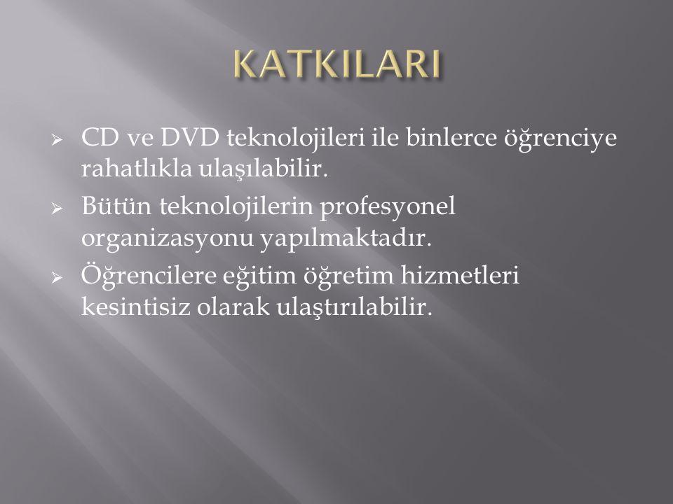  CD ve DVD teknolojileri ile binlerce öğrenciye rahatlıkla ulaşılabilir.  Bütün teknolojilerin profesyonel organizasyonu yapılmaktadır.  Öğrenciler