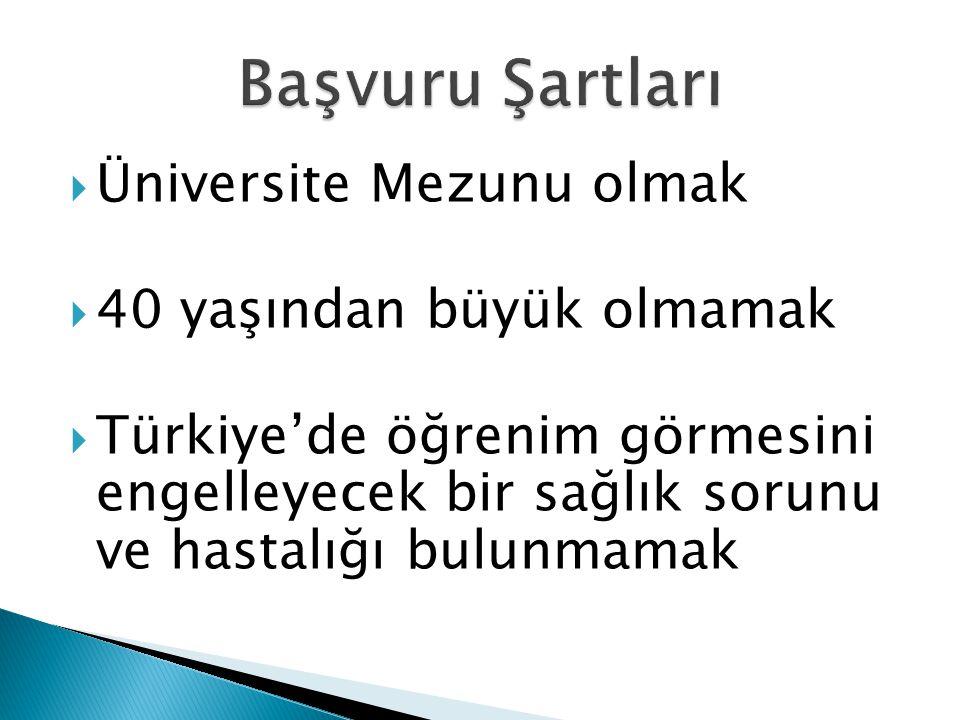  Üniversite Mezunu olmak  40 yaşından büyük olmamak  Türkiye'de öğrenim görmesini engelleyecek bir sağlık sorunu ve hastalığı bulunmamak