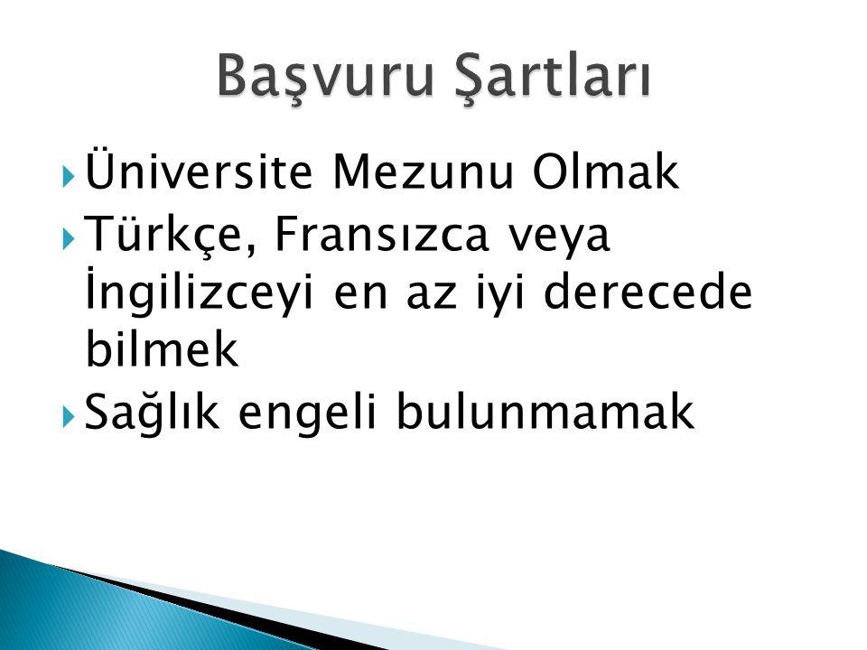  Üniversite Mezunu Olmak  Türkçe, Fransızca veya İngilizceyi en az iyi derecede bilmek  Sağlık engeli bulunmamak