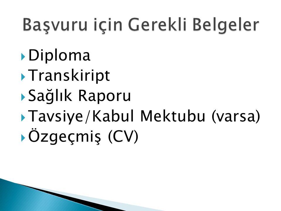  Diploma  Transkiript  Sağlık Raporu  Tavsiye/Kabul Mektubu (varsa)  Özgeçmiş (CV)
