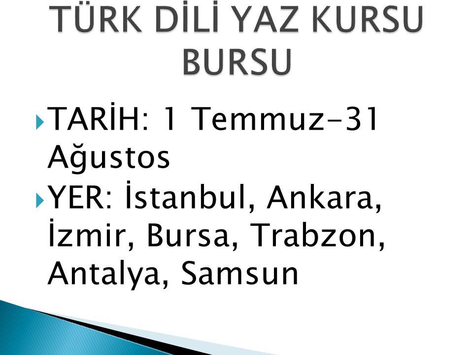  TARİH: 1 Temmuz-31 Ağustos  YER: İstanbul, Ankara, İzmir, Bursa, Trabzon, Antalya, Samsun