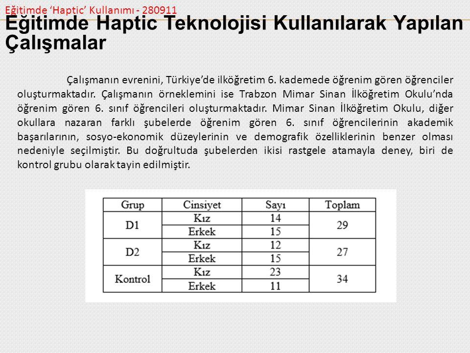 Eğitimde 'Haptic' Kullanımı - 280911 Çalışmanın evrenini, Türkiye'de ilköğretim 6. kademede öğrenim gören öğrenciler oluşturmaktadır. Çalışmanın örnek