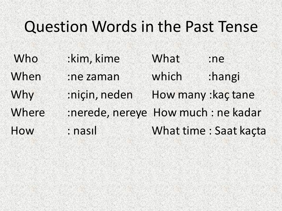 Question Words in the Past Tense Who:kim, kimeWhat:ne When:ne zamanwhich:hangi Why:niçin, nedenHow many :kaç tane Where:nerede, nereye How much : ne k