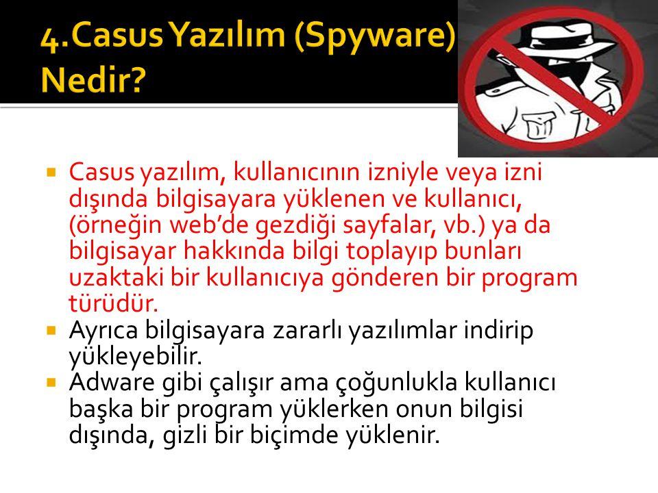  Casus yazılım, kullanıcının izniyle veya izni dışında bilgisayara yüklenen ve kullanıcı, (örneğin web'de gezdiği sayfalar, vb.) ya da bilgisayar hak