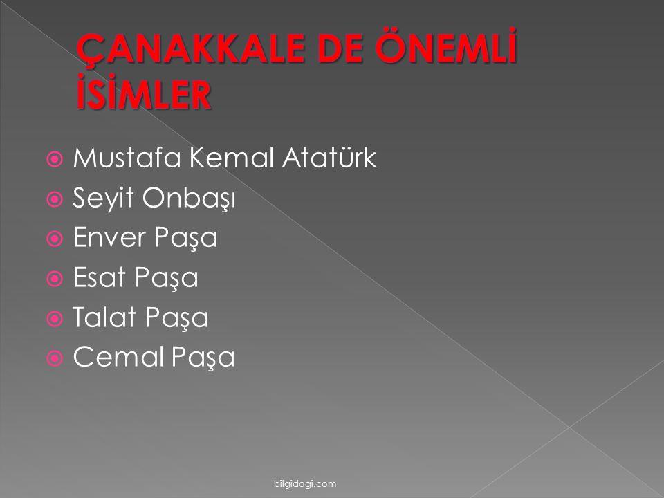  Mustafa Kemal Atatürk  Seyit Onbaşı  Enver Paşa  Esat Paşa  Talat Paşa  Cemal Paşa bilgidagi.com