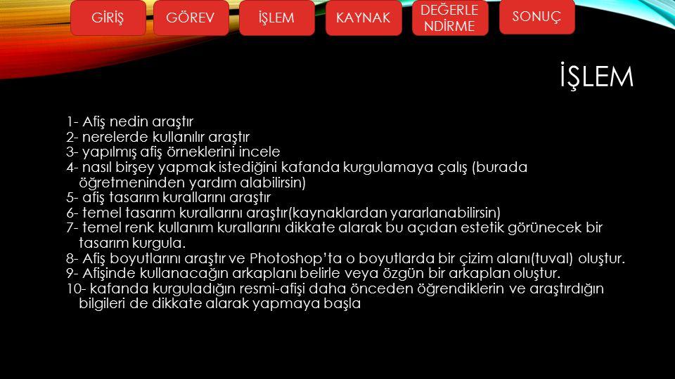 KAYNAKLAR Afiş Örnekleri http://selcukbasaran.com.tr/wpimages/a182835f6f8.jpg http://img.internethaber.com/news/37368.jpg http://selcukbasaran.com.tr/wpimages/9a23c8c0b3cd.jpg Afiş tasarım kuralları http://www.grafikerler.net/etik-acidan-afis-tasarim-kurallari-nelerdir-t57484.html Lasso tool kullanımı https://www.youtube.com/watch?v=jFsTMq1fqrs metin efektleri https://www.youtube.com/watch?v=MX9uCxoImMk resmi şekil içerisine yerleştimek https://www.youtube.com/watch?v=-iE_Sm-PIh4 Gradient tool kullanımı https://www.youtube.com/watch?v=LlRgqffFQxs Klonlama ve Desen damga aracı kullanımı https://www.youtube.com/watch?v=sLwGemb8DZ8 Katmanlar ve özel şekillerle çalışmak https://www.youtube.com/watch?v=C3-tz-St69Y GİRİŞGÖREVİŞLEMKAYNAK DEĞERLE NDİRME SONUÇ