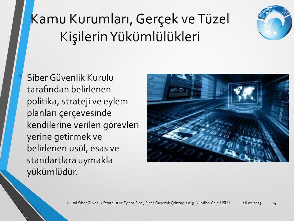 Kamu Kurumları, Gerçek ve Tüzel Kişilerin Yükümlülükleri Siber Güvenlik Kurulu tarafından belirlenen politika, strateji ve eylem planları çerçevesinde