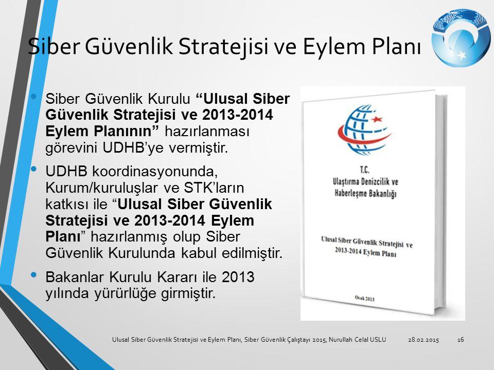 """Siber Güvenlik Stratejisi ve Eylem Planı Siber Güvenlik Kurulu """"Ulusal Siber Güvenlik Stratejisi ve 2013-2014 Eylem Planının"""" hazırlanması görevini UD"""