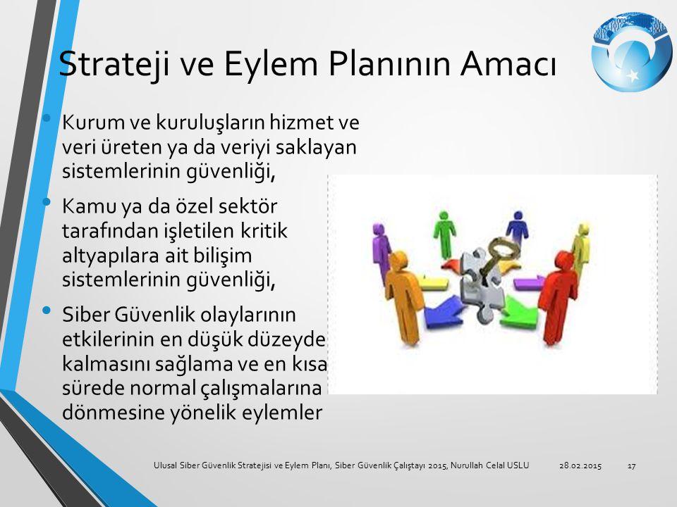 Strateji ve Eylem Planının Amacı Kurum ve kuruluşların hizmet ve veri üreten ya da veriyi saklayan sistemlerinin güvenliği, Kamu ya da özel sektör tar