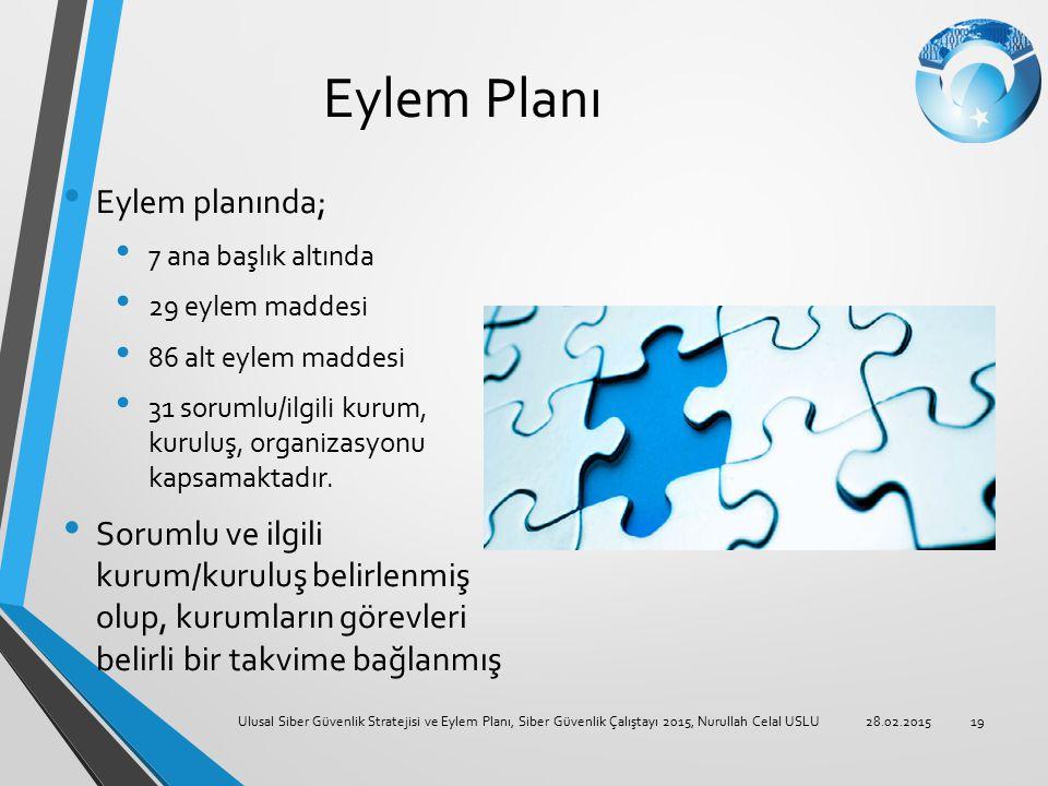 Eylem Planı Eylem planında; 7 ana başlık altında 29 eylem maddesi 86 alt eylem maddesi 31 sorumlu/ilgili kurum, kuruluş, organizasyonu kapsamaktadır.