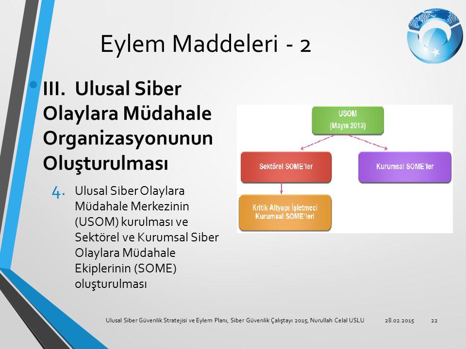 Eylem Maddeleri - 2 III. Ulusal Siber Olaylara Müdahale Organizasyonunun Oluşturulması 4. Ulusal Siber Olaylara Müdahale Merkezinin (USOM) kurulması v