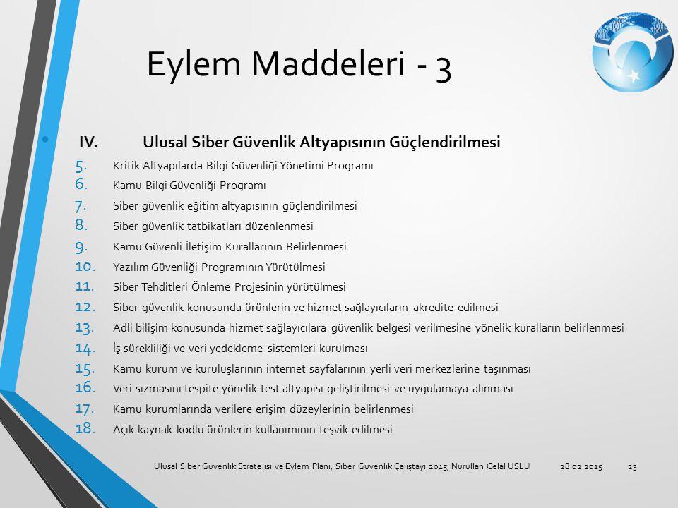 Eylem Maddeleri - 3 IV. Ulusal Siber Güvenlik Altyapısının Güçlendirilmesi 5. Kritik Altyapılarda Bilgi Güvenliği Yönetimi Programı 6. Kamu Bilgi Güve