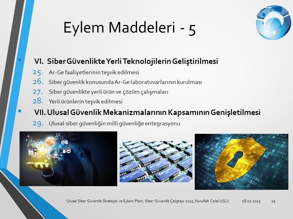 Eylem Maddeleri - 5 VI. Siber Güvenlikte Yerli Teknolojilerin Geliştirilmesi 25. Ar-Ge faaliyetlerinin teşvik edilmesi 26. Siber güvenlik konusunda Ar