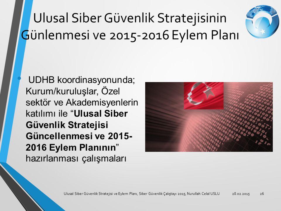 Ulusal Siber Güvenlik Stratejisinin Günlenmesi ve 2015-2016 Eylem Planı UDHB koordinasyonunda; Kurum/kuruluşlar, Özel sektör ve Akademisyenlerin katıl