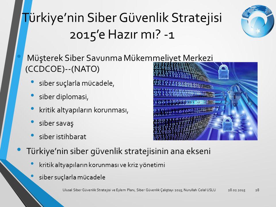 Türkiye'nin Siber Güvenlik Stratejisi 2015'e Hazır mı? -1 Müşterek Siber Savunma Mükemmeliyet Merkezi (CCDCOE)--(NATO) siber suçlarla mücadele, siber