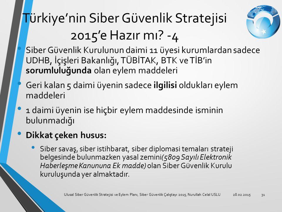 Türkiye'nin Siber Güvenlik Stratejisi 2015'e Hazır mı? -4 Siber Güvenlik Kurulunun daimi 11 üyesi kurumlardan sadece UDHB, İçişleri Bakanlığı, TÜBİTAK