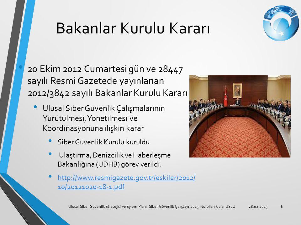 Bakanlar Kurulu Kararı 20 Ekim 2012 Cumartesi gün ve 28447 sayılı Resmi Gazetede yayınlanan 2012/3842 sayılı Bakanlar Kurulu Kararı Ulusal Siber Güven