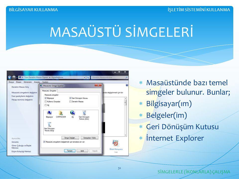  Masaüstünde bazı temel simgeler bulunur. Bunlar;  Bilgisayar(ım)  Belgeler(im)  Geri Dönüşüm Kutusu  İnternet Explorer İŞLETİM SİSTEMİNİ KULLANM