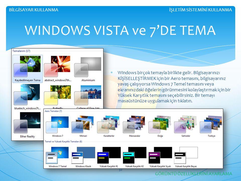 İŞLETİM SİSTEMİNİ KULLANMABİLGİSAYAR KULLANMA WINDOWS VISTA ve 7'DE TEMA  Windows birçok temayla birlikte gelir. Bilgisayarınızı KİŞİSELLEŞTİRMEK içi