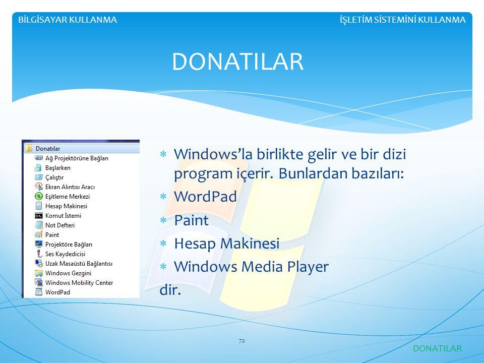 İŞLETİM SİSTEMİNİ KULLANMABİLGİSAYAR KULLANMA DONATILAR  Windows'la birlikte gelir ve bir dizi program içerir. Bunlardan bazıları:  WordPad  Paint