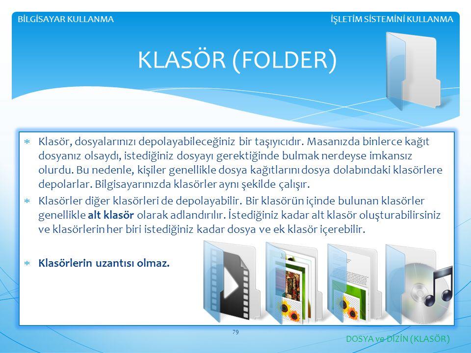 İŞLETİM SİSTEMİNİ KULLANMABİLGİSAYAR KULLANMA KLASÖR (FOLDER)  Klasör, dosyalarınızı depolayabileceğiniz bir taşıyıcıdır.