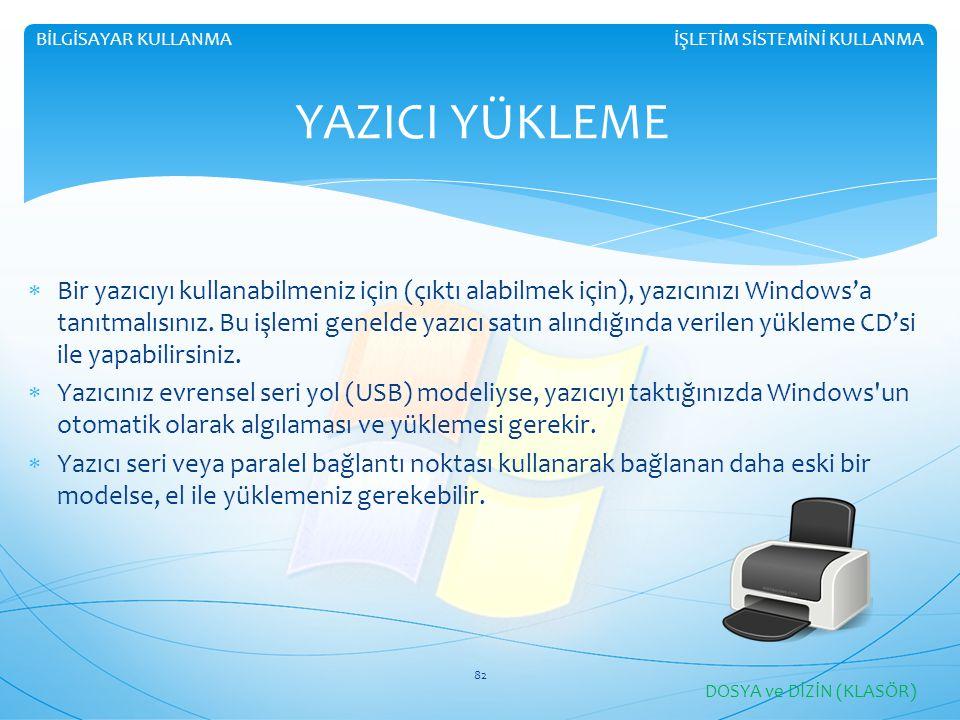 İŞLETİM SİSTEMİNİ KULLANMABİLGİSAYAR KULLANMA YAZICI YÜKLEME  Bir yazıcıyı kullanabilmeniz için (çıktı alabilmek için), yazıcınızı Windows'a tanıtmalısınız.
