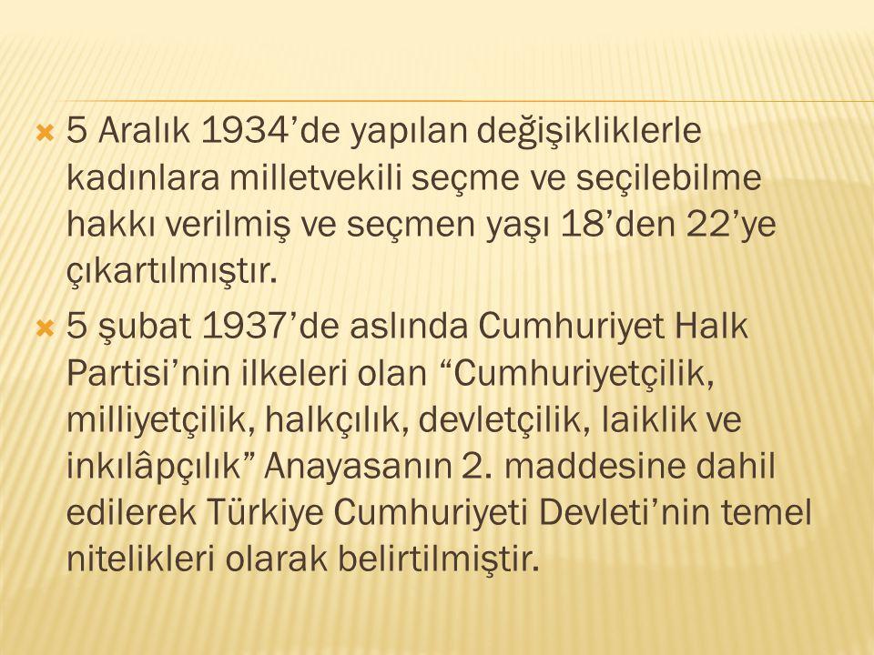  5 Aralık 1934'de yapılan değişikliklerle kadınlara milletvekili seçme ve seçilebilme hakkı verilmiş ve seçmen yaşı 18'den 22'ye çıkartılmıştır.  5