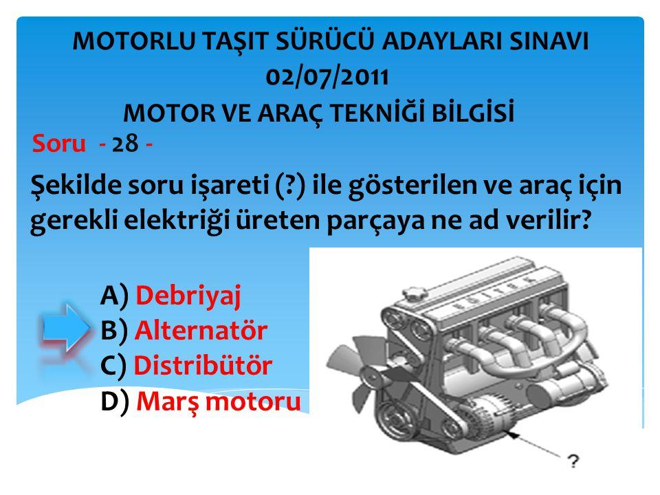 İBRAHİM YALÇIN Şekilde soru işareti (?) ile gösterilen ve araç için gerekli elektriği üreten parçaya ne ad verilir? Soru - 28 - A) Debriyaj B) Alterna